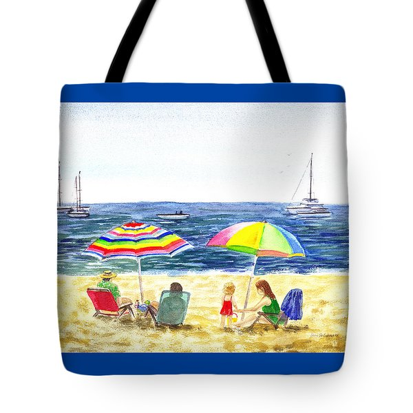 Two Umbrellas On The Beach California  Tote Bag