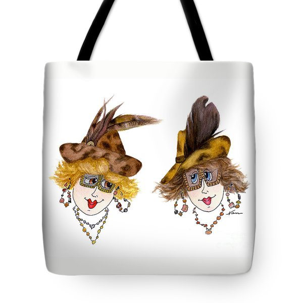 Two Whimsical Ladies In Animal Print Hats Tote Bag by Nan Wright