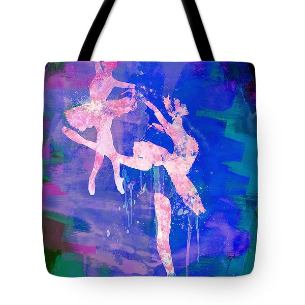 Two White Ballerinas Watercolor Tote Bag