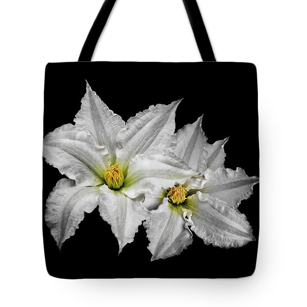 Two White Clematis Flowers On Black Tote Bag by Jane McIlroy