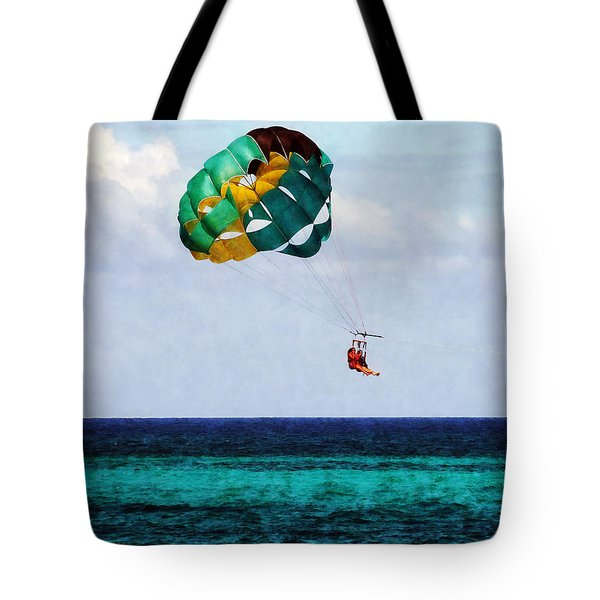 Two Women Parasailing In The Bahamas Tote Bag by Susan Savad