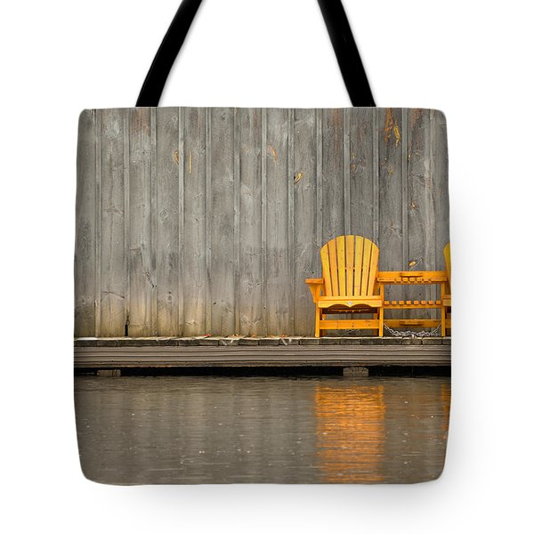 Two Wooden Chairs On An Old Dock Tote Bag