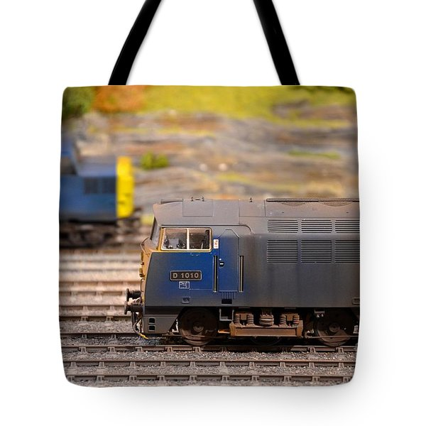 Tote Bag featuring the photograph Two Yellow Blue British Rail Model Railway Train Engines by Imran Ahmed