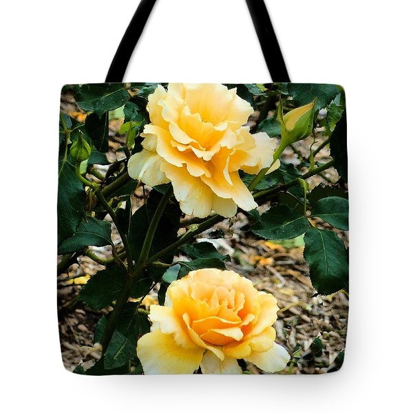 Tote Bag featuring the photograph Two Yellow Roses by Janette Boyd