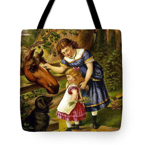 Two Young Girls Tote Bag by Unknown