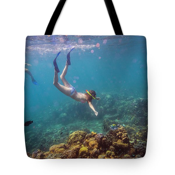 Two Young Woman Snorkeling In Ocean Tote Bag
