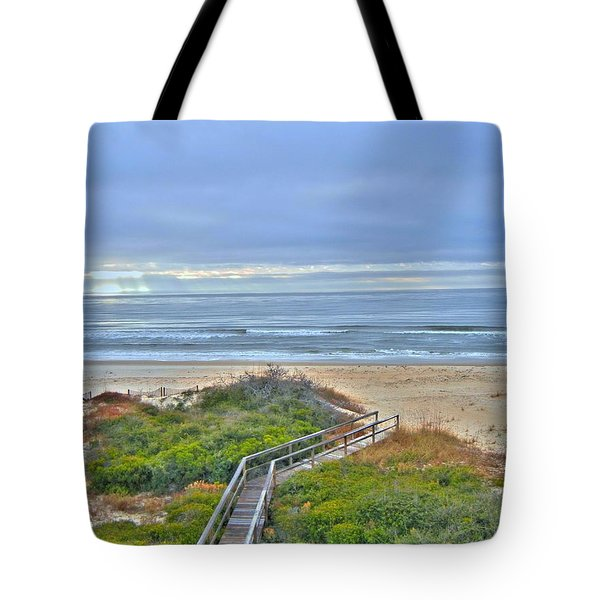 Tybee Island Beach And Boardwalk Tote Bag by Donald Williams