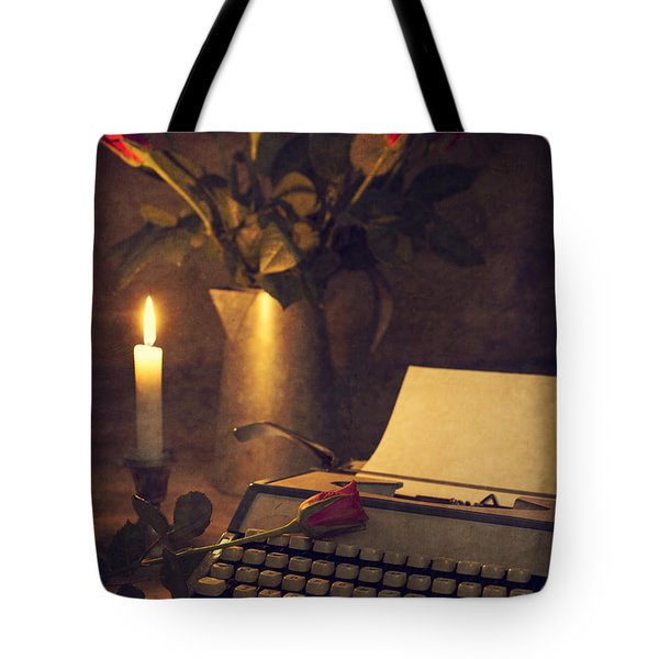 Typewriter And Roses Tote Bag by Amanda Elwell