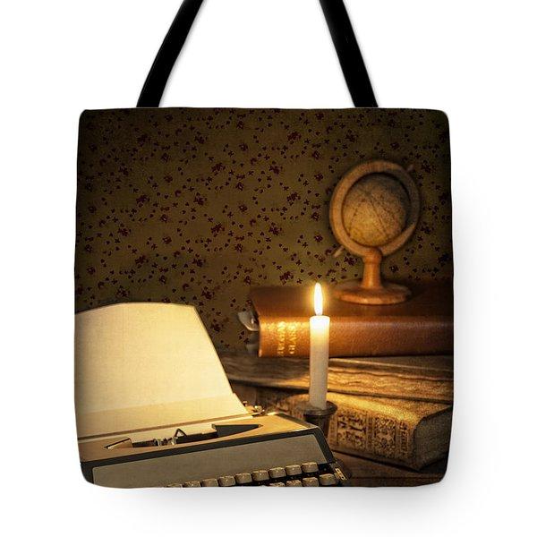 Typewriter With Globe Tote Bag by Amanda Elwell