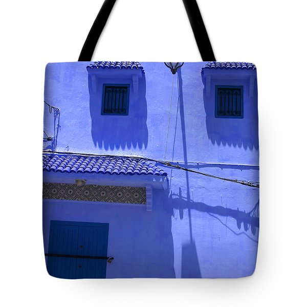 Tote Bag featuring the photograph Typical Blue Facade In The Medina Of Asilah On Northwest Tip Of Atlantic Coast Of Morocco by Ralph A  Ledergerber-Photography