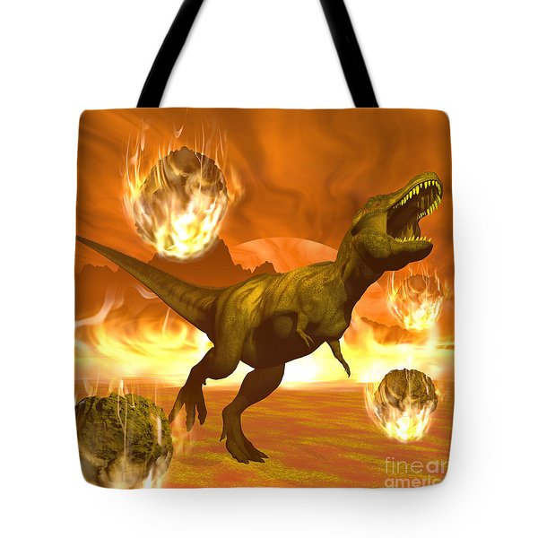 Tyrannosaurus Rex Struggles To Escape Tote Bag by Elena Duvernay