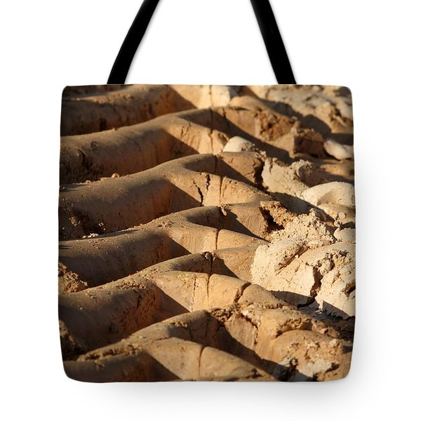 Tote Bag featuring the photograph Tyre Art - Bulldozer Tyre Marks by Ramabhadran Thirupattur