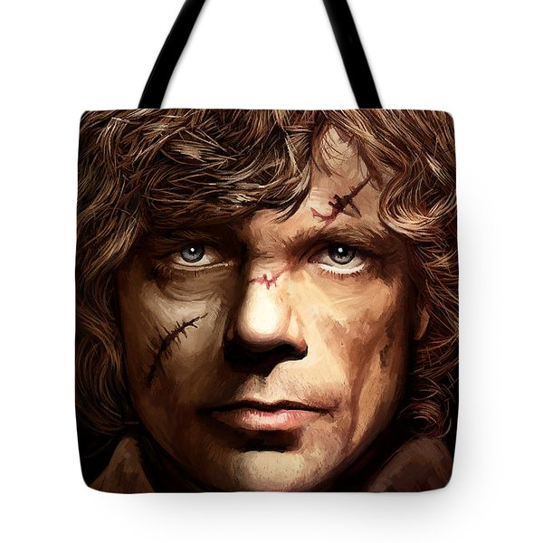 Tote Bag featuring the painting Tyrion Lannister - Peter Dinklage Game Of Thrones Artwork 2 by Sheraz A