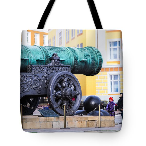 Tzar Cannon Of Moscow Kremlin - Square Tote Bag by Alexander Senin