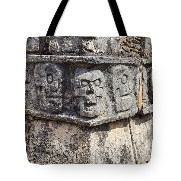 Tote Bag featuring the photograph Tzompantli Or Platform Of The Skulls At Chichen Itza by Bryan Mullennix