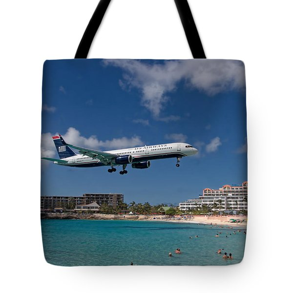 U S Airways Low Approach To St. Maarten Tote Bag