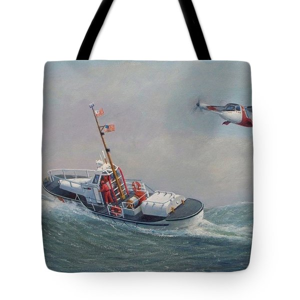 U. S. Coast Guard 44ft Motor Lifeboat And Tilt-motor Aircraft  Tote Bag by William H RaVell III