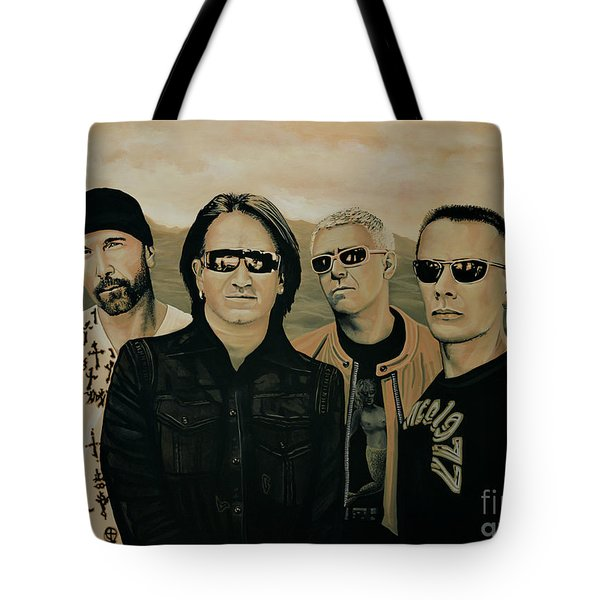 U2 Silver And Gold Tote Bag by Paul Meijering