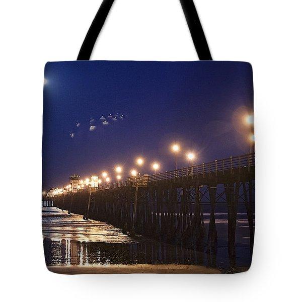 Ufo's Over Oceanside Pier Tote Bag