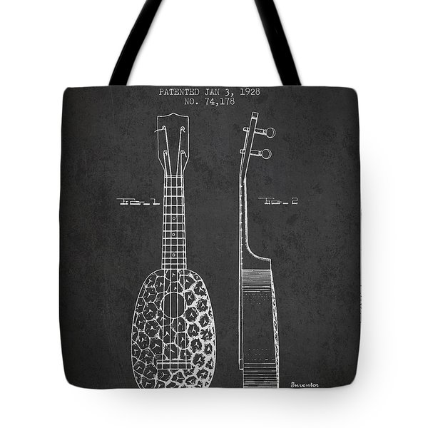 Ukulele Patent Drawing From 1928 - Dark Tote Bag