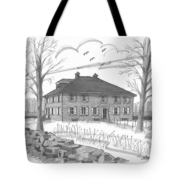 Tote Bag featuring the drawing Ulster County Museum by Richard Wambach