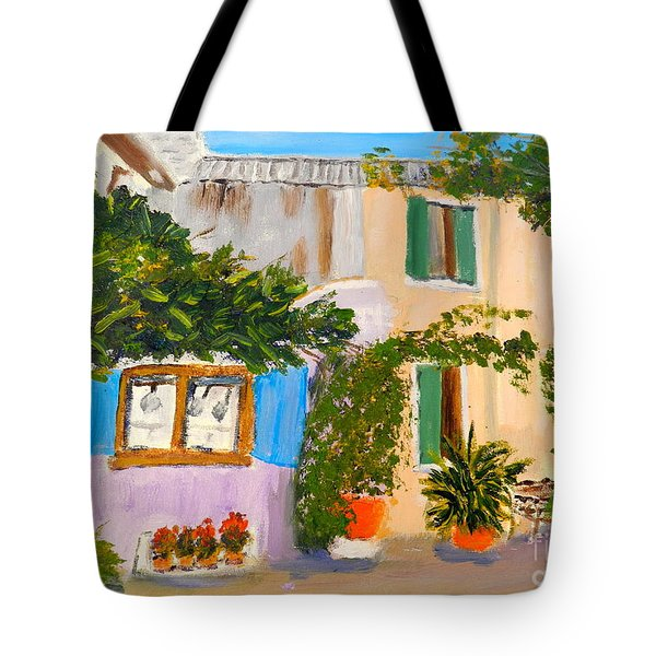 Tote Bag featuring the painting Umbera Courtyard by Pamela  Meredith