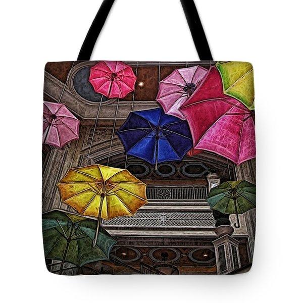 Umbrella Fun Tote Bag by Joan  Minchak