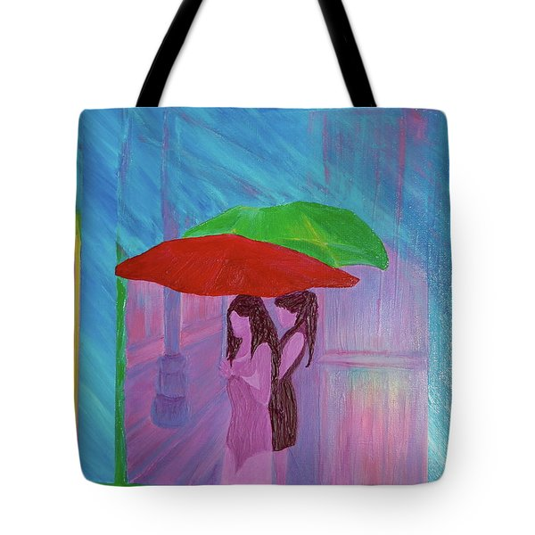 Tote Bag featuring the painting Umbrella Girls by First Star Art