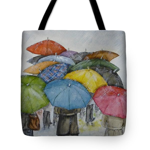 Umbrella Huddle Tote Bag by Kelly Mills