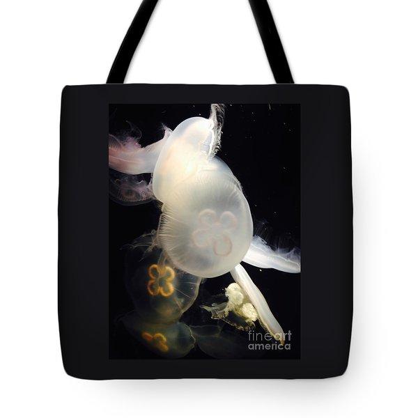 Tote Bag featuring the photograph Umbrella Jellyfish 1 Shot At Long Beach California Aquarium By Richard W Linford by Richard W Linford