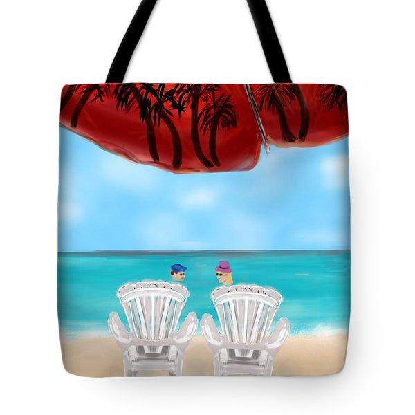 Umbrella View Tote Bag by Christine Fournier