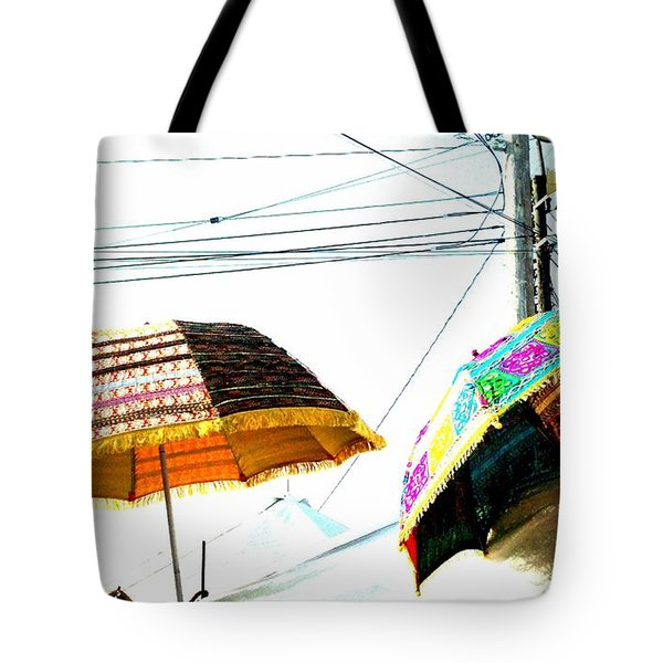 Umbrellas And Wires Tote Bag