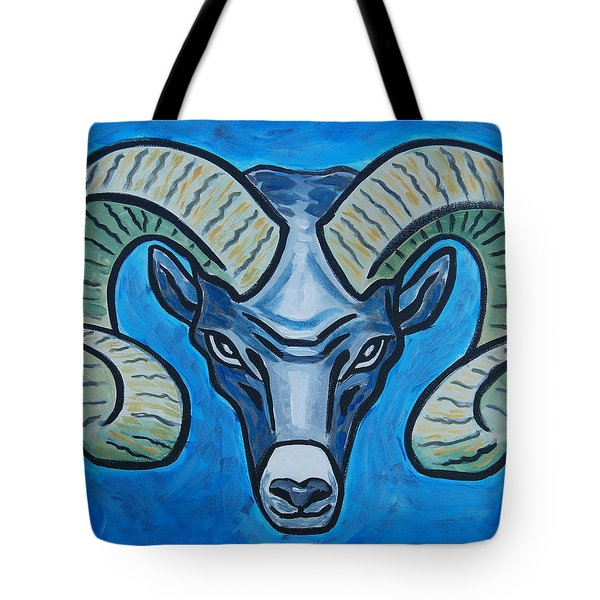 Ram With Sky Blue Tote Bag