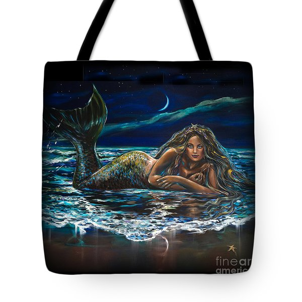Under A Crescent Moon Mermaid Pillow Tote Bag