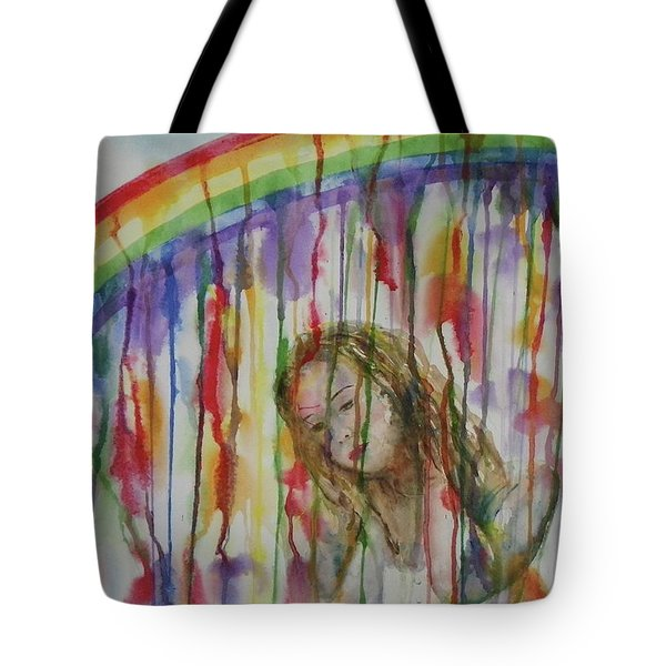 Tote Bag featuring the painting Under A Crying Rainbow by Anna Ruzsan