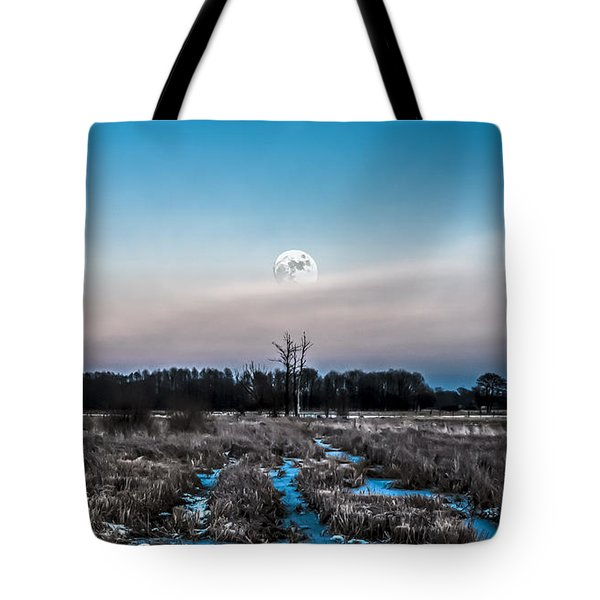 Tote Bag featuring the photograph Under Cold Moonlight In Blue by Julis Simo