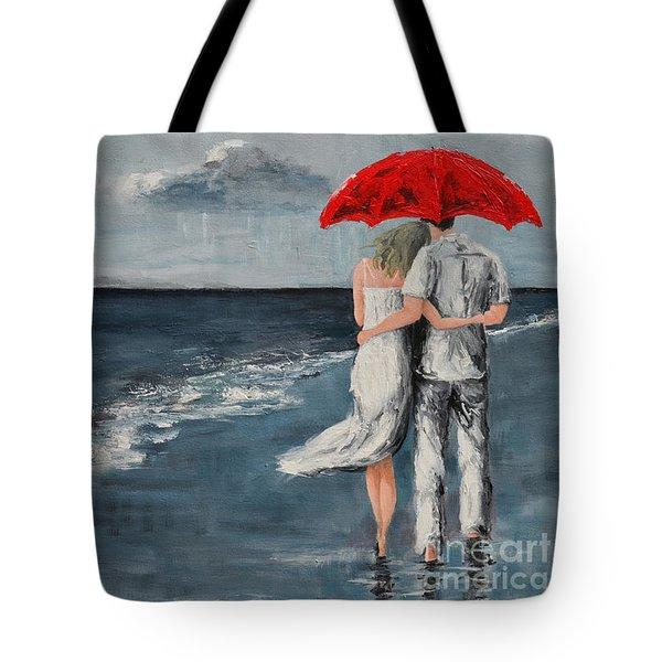 Under Our Umbrella - Modern Impressionistic Art - Romantic Scene Tote Bag