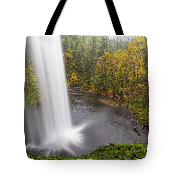 Under The Falls With Autumn Colors In Oregon Tote Bag by David Gn