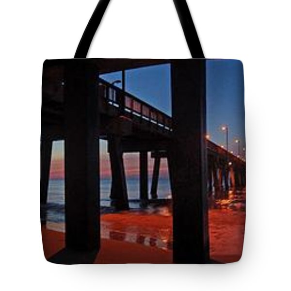 Tote Bag featuring the digital art Under The Gulf State Pier  by Michael Thomas