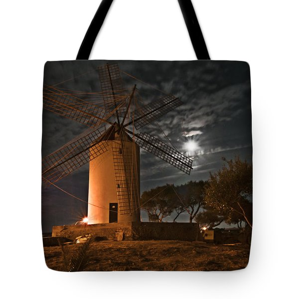 Vintage Windmill In Es Castell Villacarlos George Town In Minorca -  Under The Moonlight Tote Bag