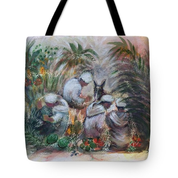Tote Bag featuring the painting Under The Palm Trees At The Oasis by Laila Awad Jamaleldin