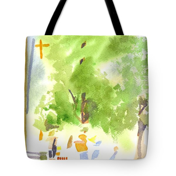 Under The Shade Trees Farmers Market Iv Tote Bag by Kip DeVore