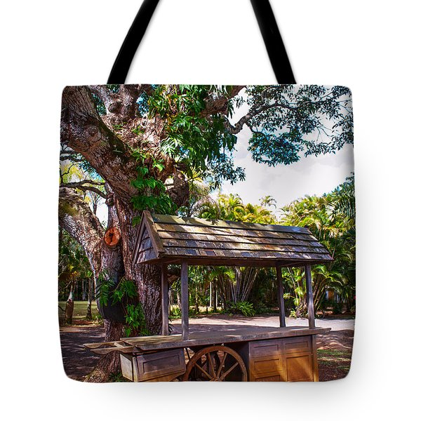 Under The Shadow Of The Tree. Eureka. Mauritius Tote Bag by Jenny Rainbow