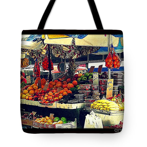 Tote Bag featuring the photograph Under The Umbrellas by Miriam Danar