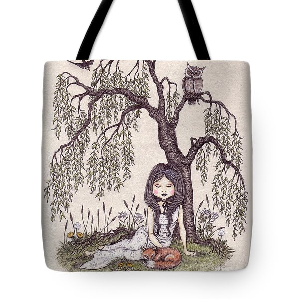 Under The Willow Tree Tote Bag by Snezana Kragulj