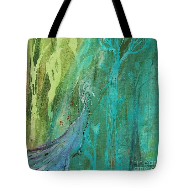Tote Bag featuring the painting Undercover Peacock by Robin Maria Pedrero