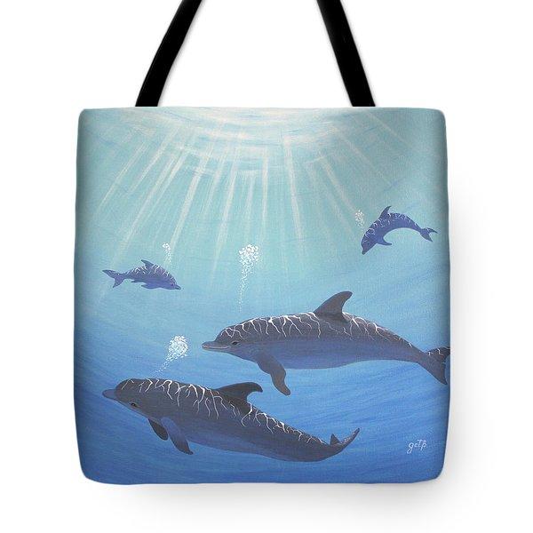 Underwater Dolphins Original Acrylic Painting Tote Bag by Georgeta  Blanaru