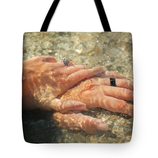 Tote Bag featuring the photograph Underwater Hands by Leticia Latocki