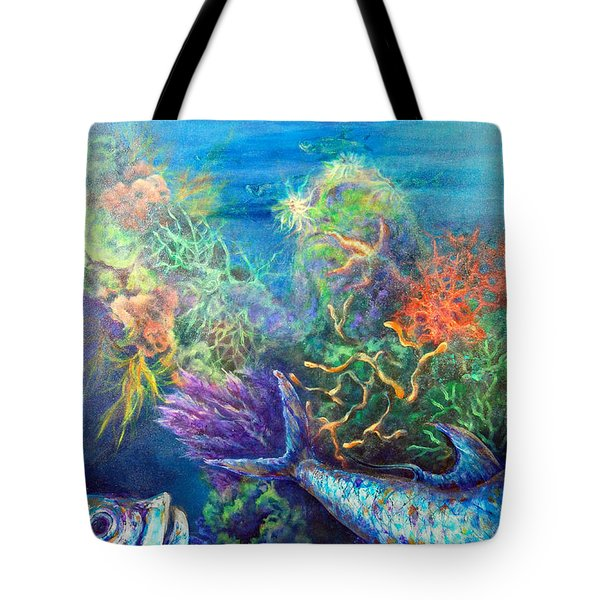 Tote Bag featuring the painting Jesus Reef  by Ashley Kujan
