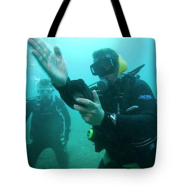 Underwater View Of Scuba Divers Tote Bag